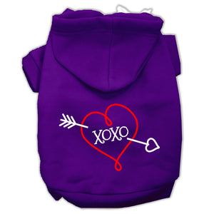 Xoxo Screen Print Pet Hoodies Size