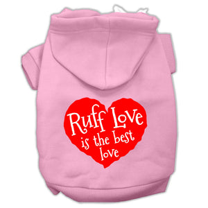 Ruff Love Screen Print Pet Hoodies Size