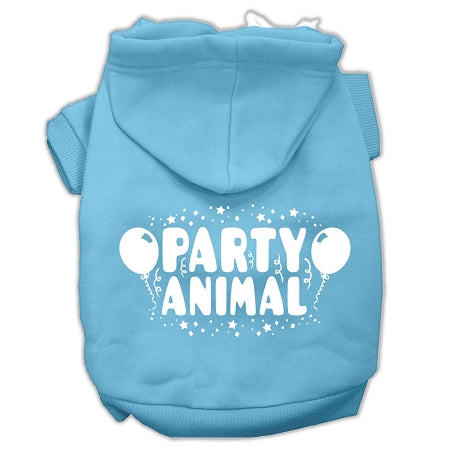 Party Animal Screen Print Pet Hoodies Size