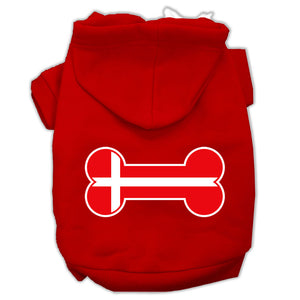 Bone Shaped Denmark Flag Screen Print Pet Hoodies