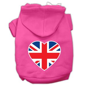 British Flag Heart Screen Print Pet Hoodies Size