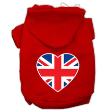 Load image into Gallery viewer, British Flag Heart Screen Print Pet Hoodies Size