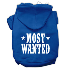 Load image into Gallery viewer, Most Wanted Screen Print Pet Hoodies Size
