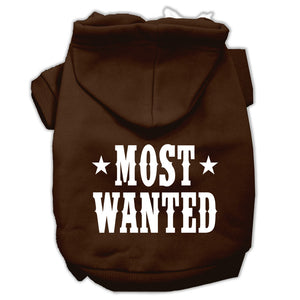 Most Wanted Screen Print Pet Hoodies Size