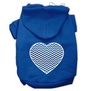 Chevron Heart Screen Print Dog Pet Hoodies Size