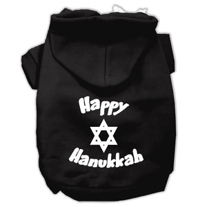 Happy Hanukkah Screen Print Pet Hoodies Size