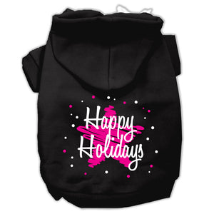 Scribble Happy Holidays Screenprint Pet Hoodies Size