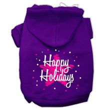 Load image into Gallery viewer, Scribble Happy Holidays Screenprint Pet Hoodies Size