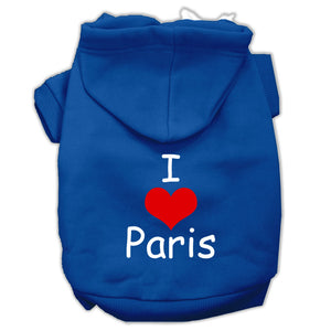 I Love Paris Screen Print Pet Hoodies Size