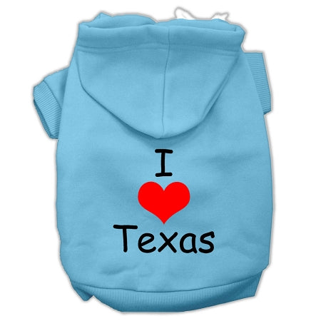 I Love Texas Screen Print Pet Hoodies Size