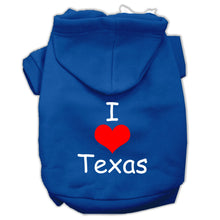 Load image into Gallery viewer, I Love Texas Screen Print Pet Hoodies Size