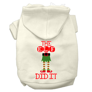 The Elf Did It Screen Print Dog Hoodie