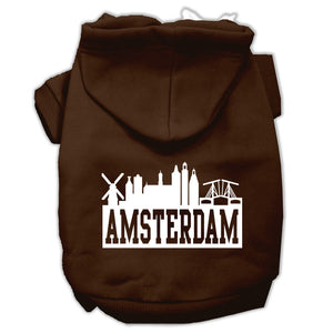 Amsterdam Skyline Screen Print Pet Hoodies Size