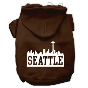 Seattle Skyline Screen Print Pet Hoodies Size