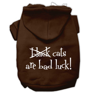 Black Cats Are Bad Luck Screen Print Pet Hoodies Size