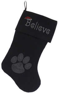 Believe Rhinestone 18 Inch Velvet Christmas Stocking