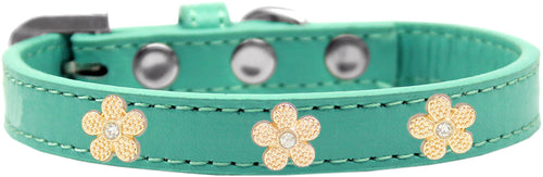 Gold Flower Widget Dog Collar Size