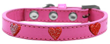 Load image into Gallery viewer, Red Glitter Heart Widget Dog Collar Size