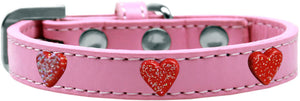 Red Glitter Heart Widget Dog Collar Size