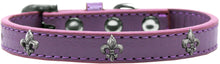 Load image into Gallery viewer, Silver Fleur De Lis Widget Dog Collar Size