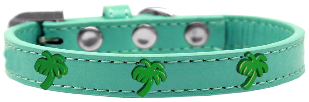 Green Palm Tree Widget Dog Collar Size
