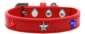 Red, White And Blue Stars Widget Dog Collar White Size