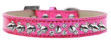 Load image into Gallery viewer, Double Crystal And Silver Spikes Dog Collar Ice Cream Size