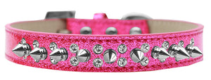 Double Crystal And Silver Spikes Dog Collar Ice Cream Size