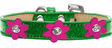 Load image into Gallery viewer, Metallic Flower Ice Cream Collar Emerald Green With Metallic Flowers Size