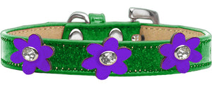 Metallic Flower Ice Cream Collar Emerald Green With Metallic Flowers Size