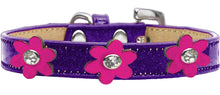 Load image into Gallery viewer, Metallic Flower Ice Cream Collar Purple With Metallic Flowers Size