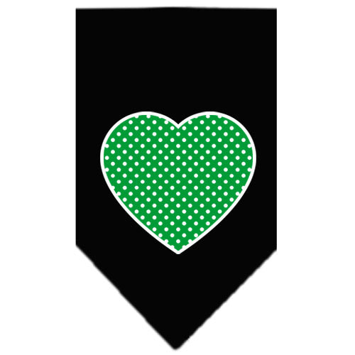 Green Swiss Dot Heart Screen Print Bandana