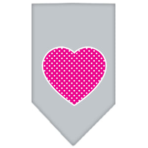Pink Swiss Dot Heart Screen Print Bandana