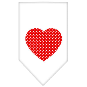 Red Swiss Dot Heart Screen Print Bandana