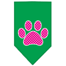 Load image into Gallery viewer, Pink Swiss Dot Paw Screen Print Bandana