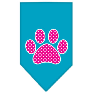 Pink Swiss Dot Paw Screen Print Bandana