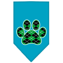 Load image into Gallery viewer, Argyle Paw Green Screen Print Bandana