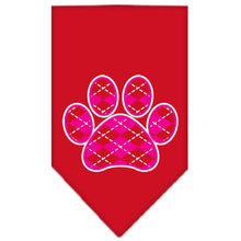 Load image into Gallery viewer, Argyle Paw Pink Screen Print Bandana