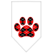 Load image into Gallery viewer, Argyle Paw Red Screen Print Bandana