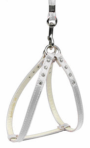 Step-in Harness White W/ Clear Stones