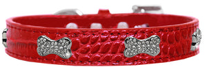 Croc Crystal Bone Dog Collar Size