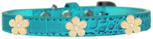 Load image into Gallery viewer, Gold Flower Widget Croc Dog Collar Size