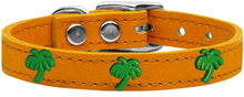 Load image into Gallery viewer, Green Palm Tree Widget Genuine Leather Dog Collar