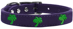 Green Palm Tree Widget Genuine Leather Dog Collar