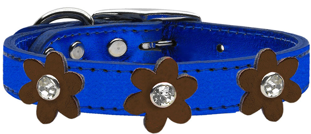 Metallic Flower Leather Collar Metallic Blue With Flowers Size