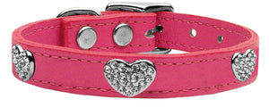 Crystal Heart Genuine Leather Dog Collar