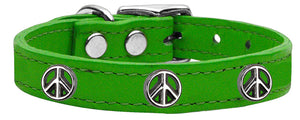Peace Sign Widget Genuine Leather Dog Collar