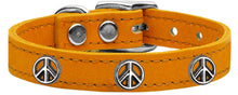 Load image into Gallery viewer, Peace Sign Widget Genuine Leather Dog Collar