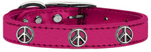 Load image into Gallery viewer, Peace Sign Widget Genuine Metallic Leather Dog Collar