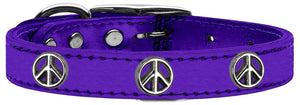 Peace Sign Widget Genuine Metallic Leather Dog Collar